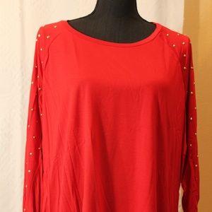 NWT Michael Kors studded sleeve top Scarlet